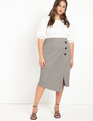 Wrap Plaid Skirt with Buttons Brown Plaid