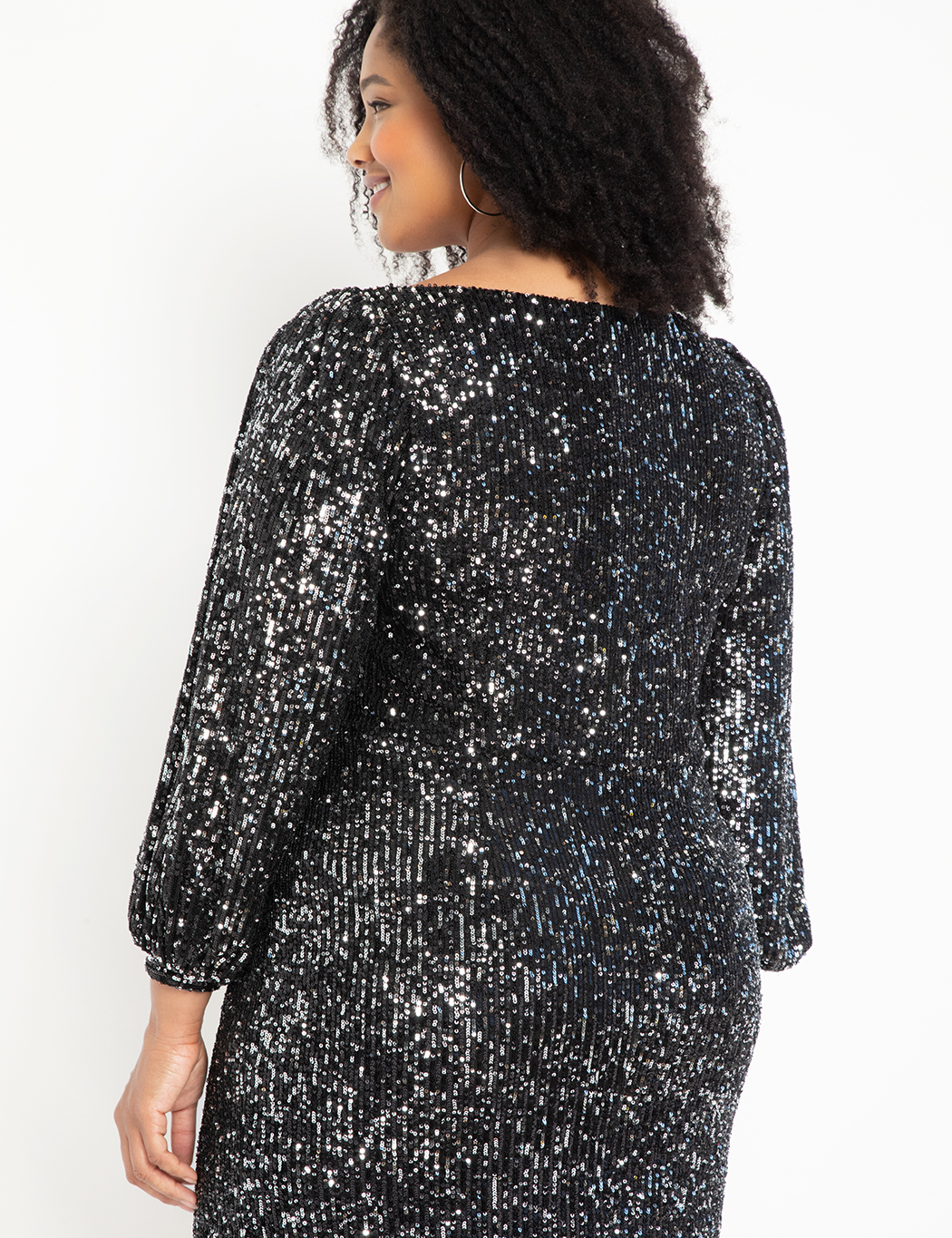 Square Neck Puff Sleeve Sequin Dress