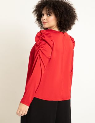 Long Sleeve Top with Puff Shoulder