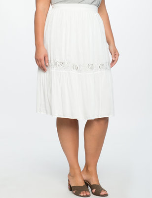 Embroidered Flounce Midi Skirt