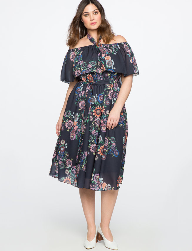 Printed Off the Shoulder Midi Dress