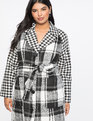 Print Block Coat Black W/White Windowpane