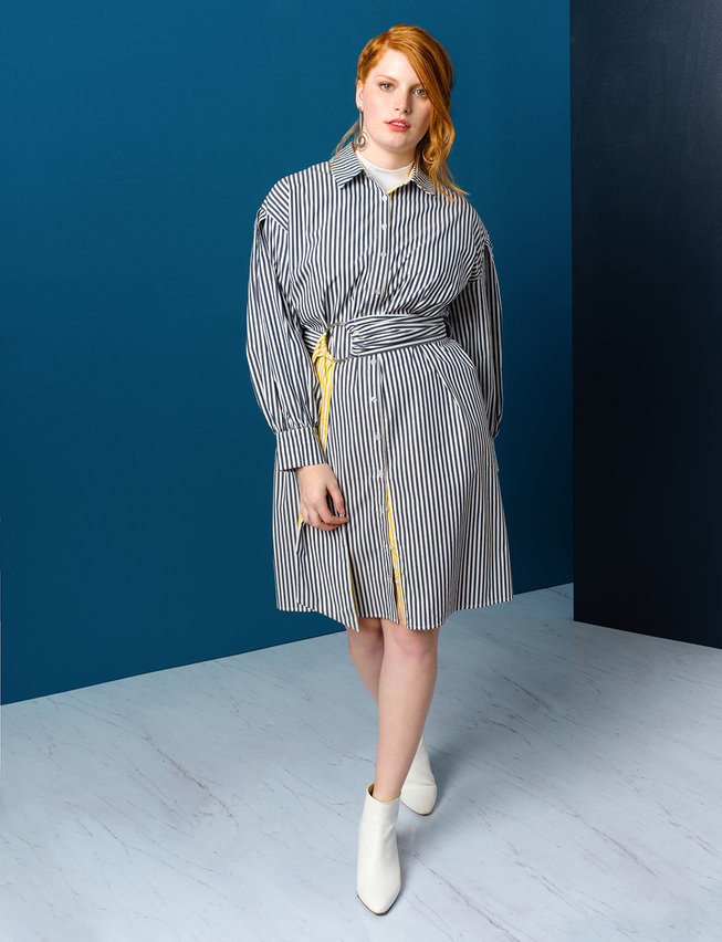 Belted Shirtdress with Contrast Stripe