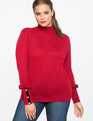Button Cuff Turtleneck Top CABERNET