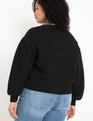 Sweater Cardigan with Pleated Sleeve Black