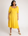 Puff Sleeve Sweetheart Neckline Dress Spicy Mustard