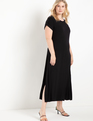 Maxi Tee Dress With Side Slits Black