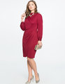 Drape Front Mock Neck Dress WINE