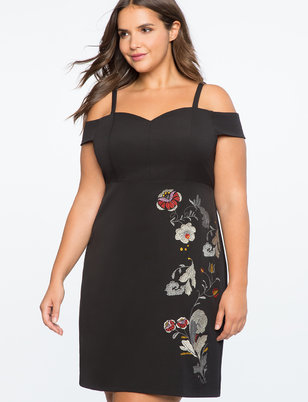 Cold Shoulder Embroidered Dress