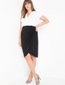 Wrap Front Skirt Black