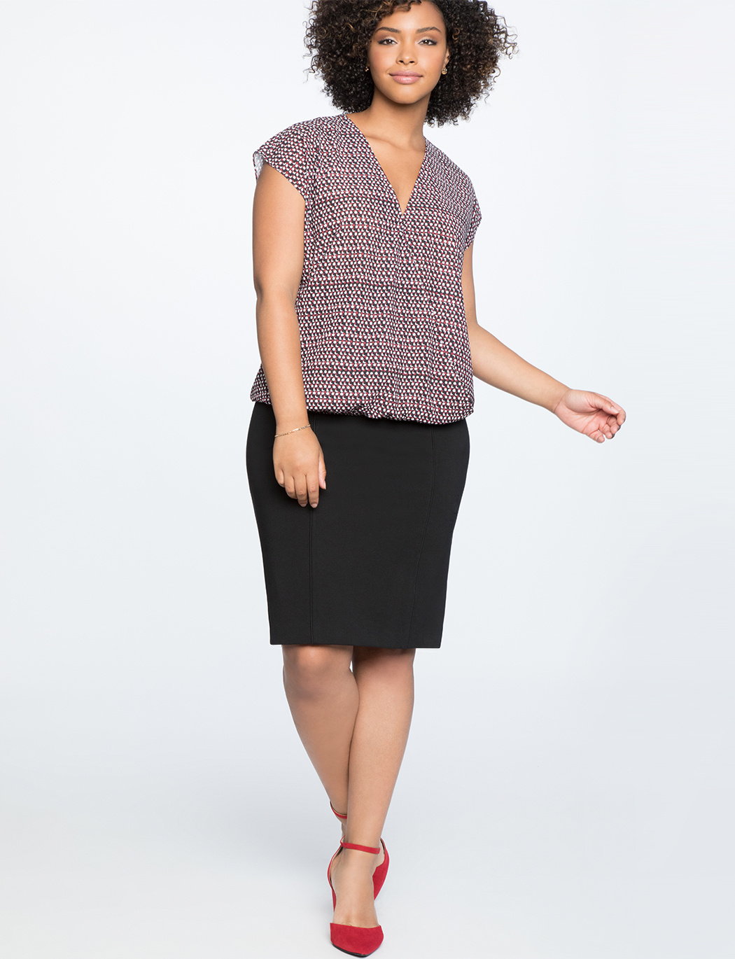 9-to-5 Short Sleeve Draped Blouse