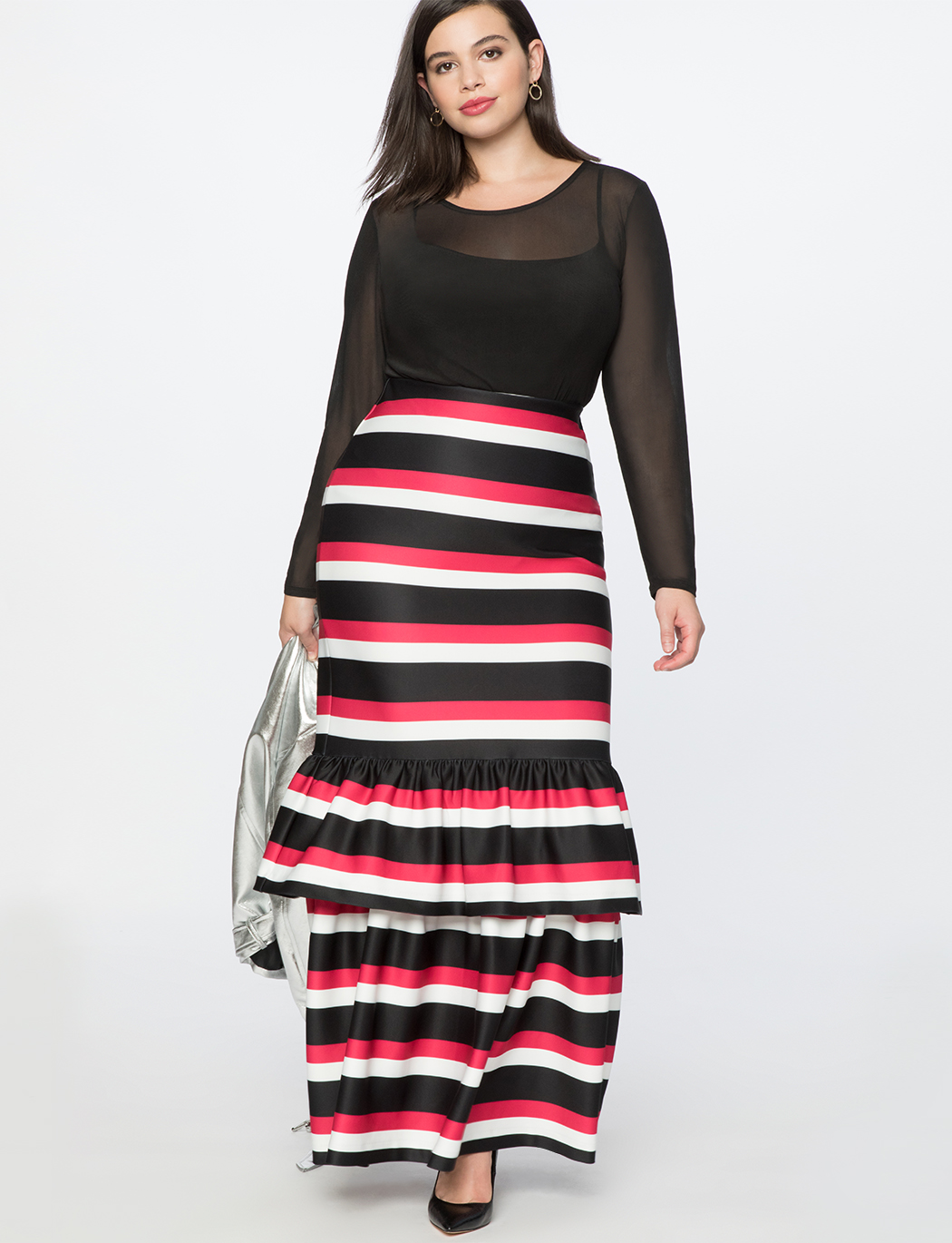 Trumpet Maxi Skirt with Ruffle  5ad0a0fc982