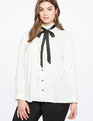 Ruffle Front Button Down Blouse TRUE WHITE