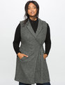 Wool Blend Long Vest  Charcoal Heather