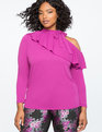 Cutout Shoulder Ruffle Top with Tie Neck HOLLYHOCK