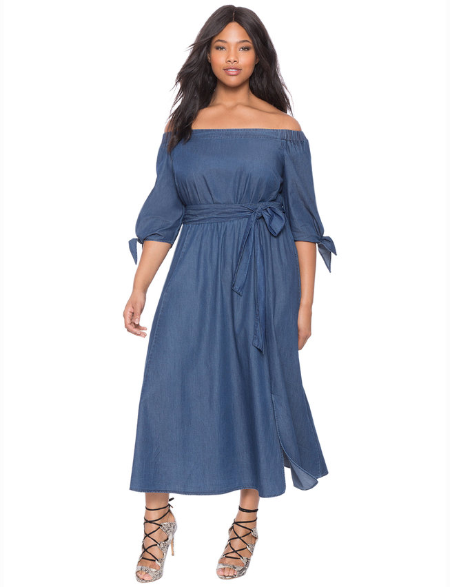 Studio Off the Shoulder Chambray Dress