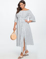 Button Down Off the Shoulder Dress BLUE + WHITE STRIPE