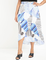 Printed Pull-on Faux Wrap Skirt Stripes of the Sea