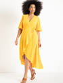 Flare Sleeve Maxi Wrap Dress Citrus