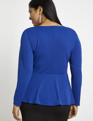 Long Sleeve Gathered Bodice Peplum Top