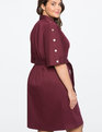 Button Detail Shirt Dress MERLOT