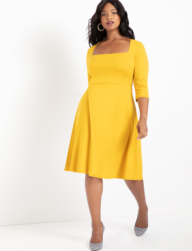 3/4 Sleeve Fit and Flare Dress
