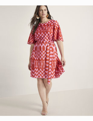 Flare Sleeve Dress with Pleated Skirt