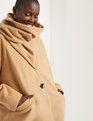 Coat with Scarf Camel