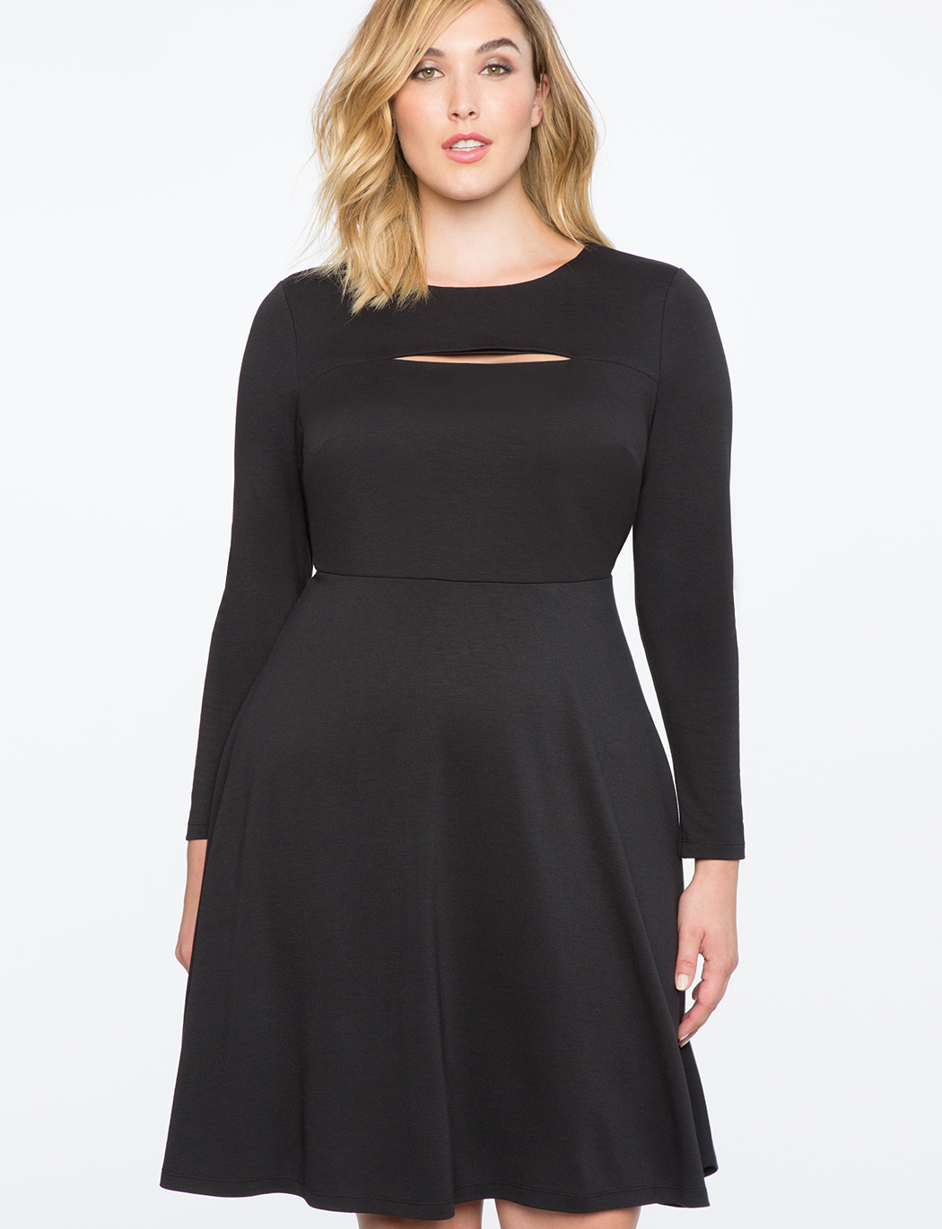 55fb7a640d8 Fit and Flare Dress with Slit Detail