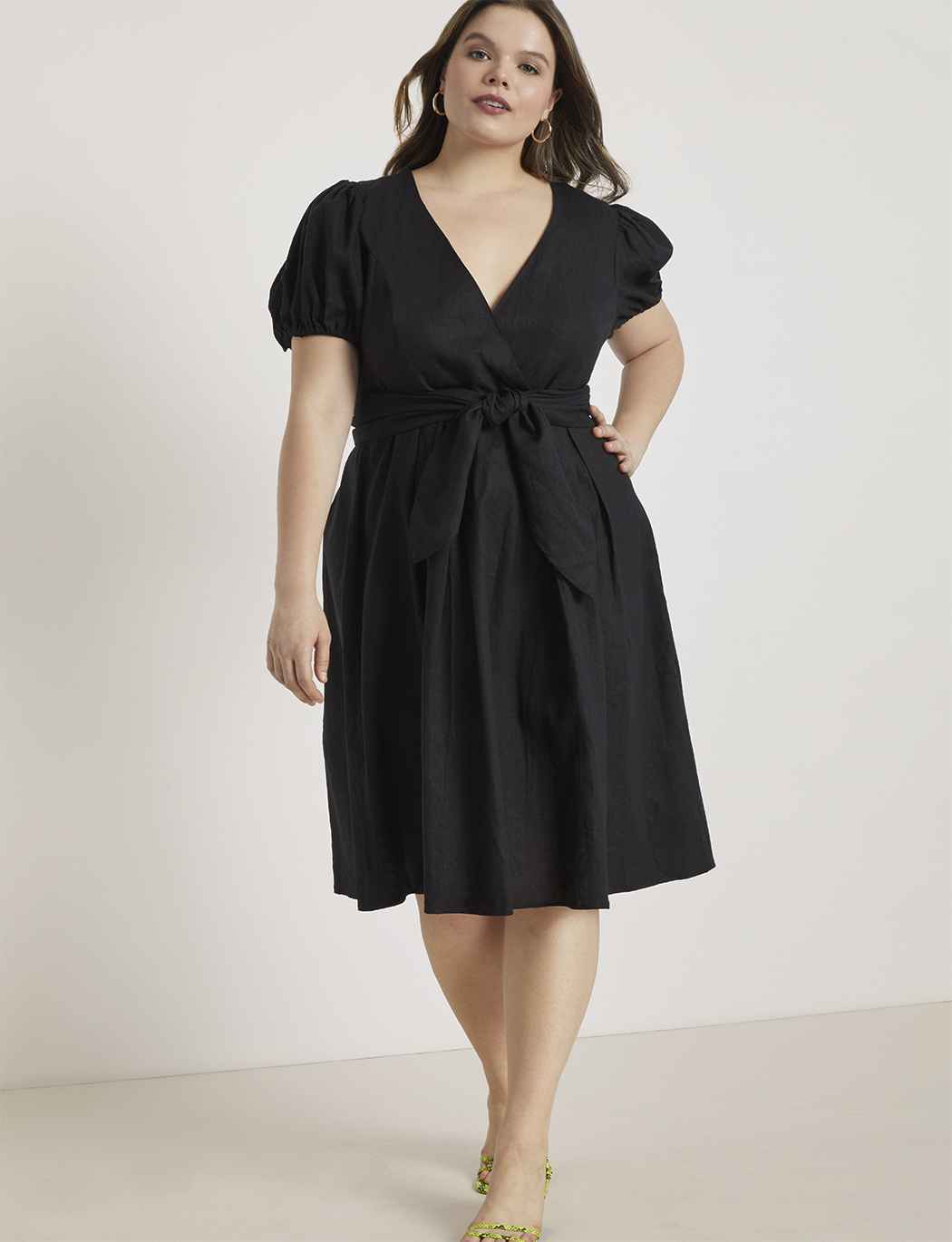 Tie Front Linen Fit and Flare Dress | Women\'s Plus Size Dresses | ELOQUII