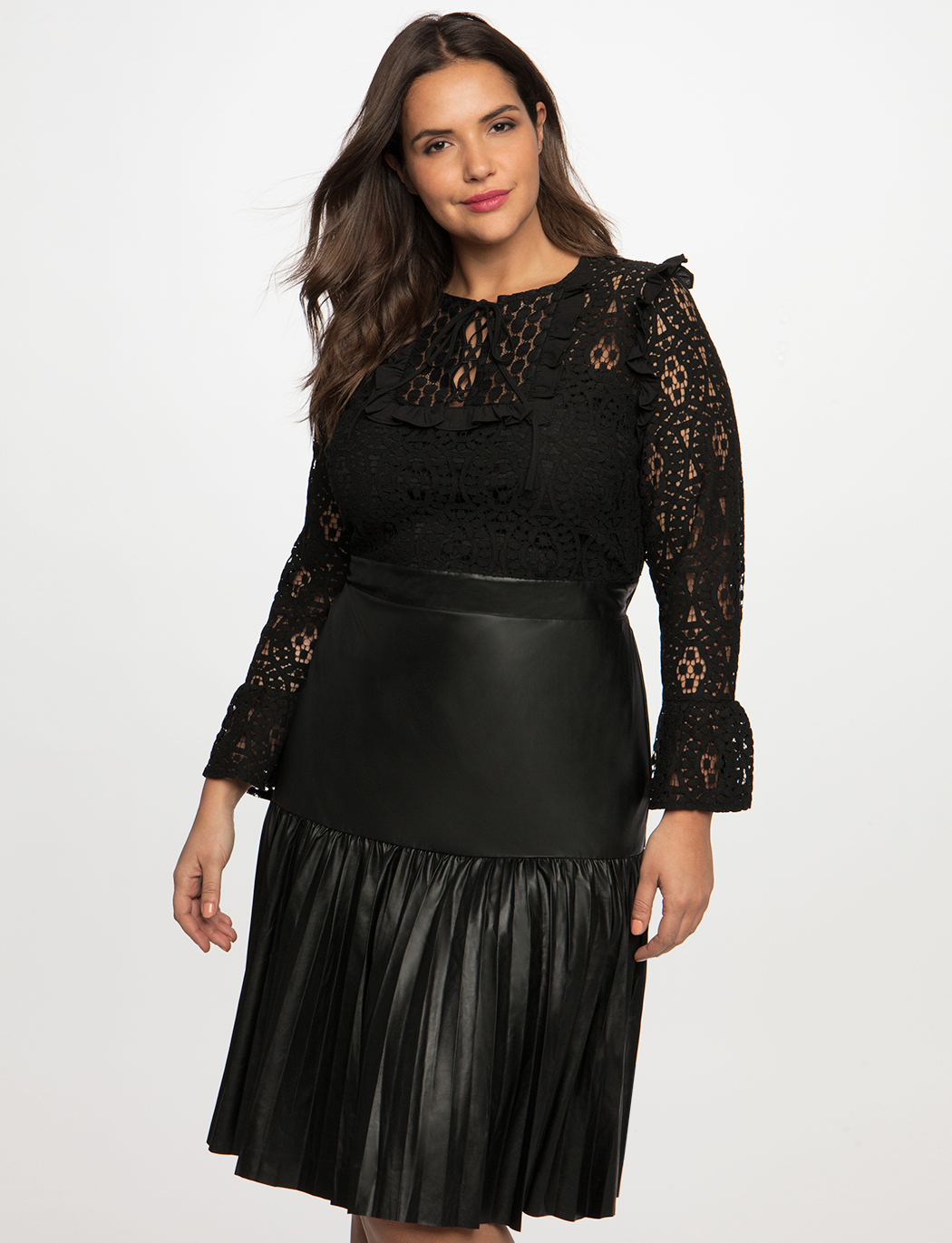 Lace Dress with Pleated Faux Leather Skirt | Women\'s Plus ...