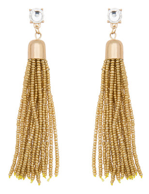Gem Stud Metal Beaded Tassel Earrings