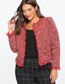Tweed Collarless Crop Jacket Red/White Tweed