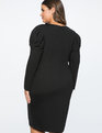 Crew Neck Dress with Draped Front Totally Black