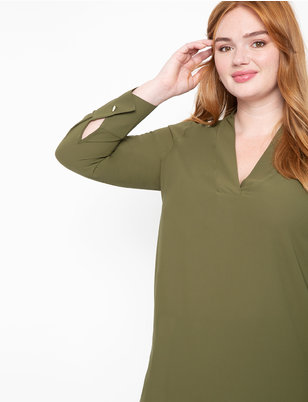 Easy V-Neck Top with Button Cuff