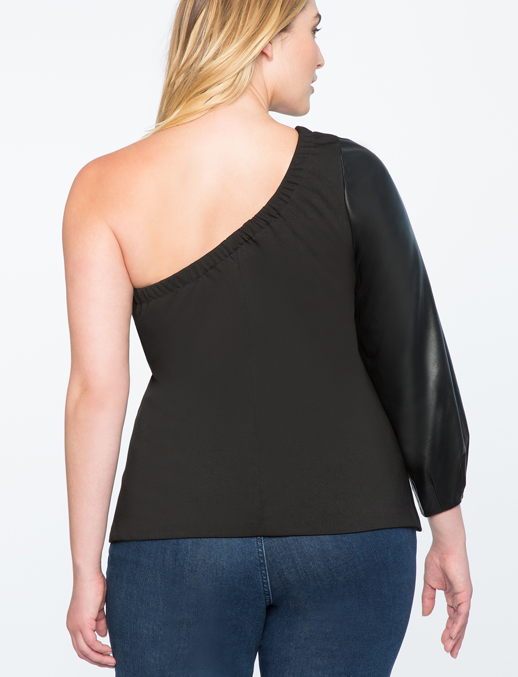 One Shoulder Faux Leather Top