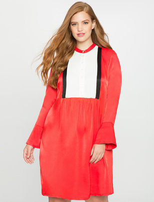 Flared Sleeve Colorblock Dress