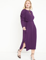 Puff Sleeve Easy Dress With Keyhole Deep Mulberry