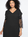 Lace Sleeve Shift Dress Totally Black