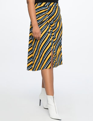 Midi Skirt With Ruched Slit