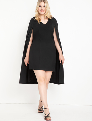 Sharp Shouldered Cape Dress