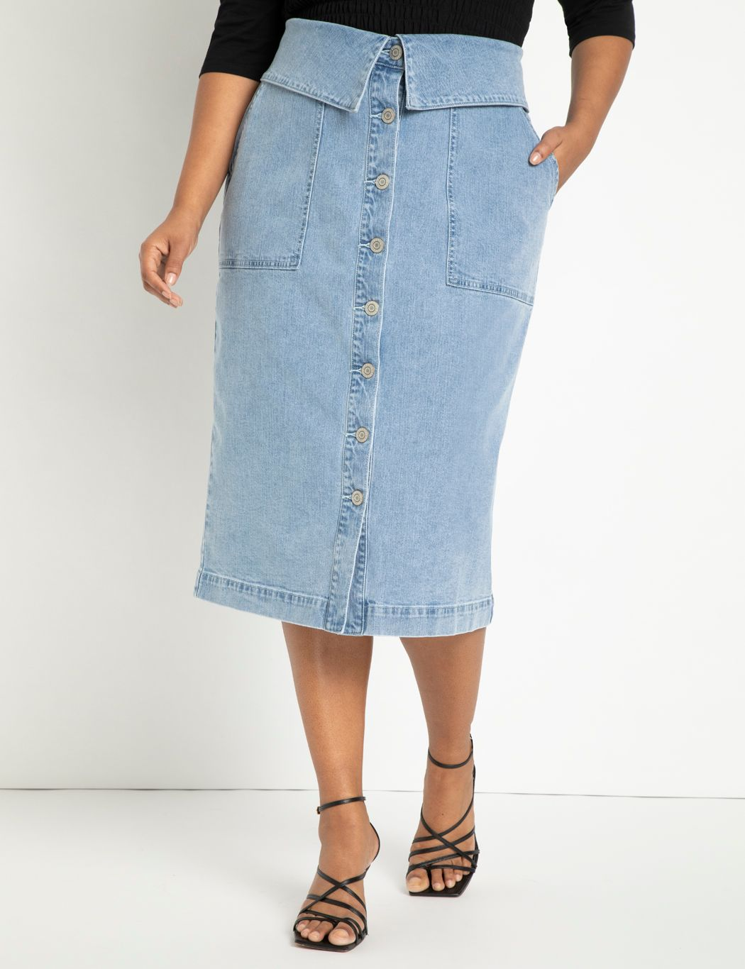 Button Front Denim Skirt with Foldover Waist