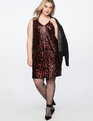 Sequin Leopard Slip Dress Red with Black