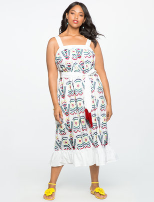 Embroidered Midi Dress with Flounce Hem