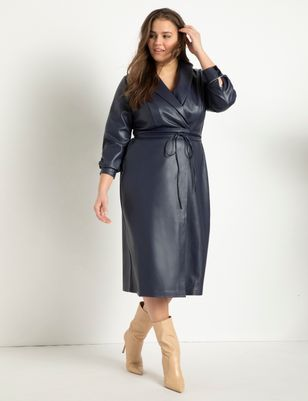 Shawl Collar Vegan Leather Dress