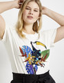 Sequin Embellished Graphic Tee Soft White with Toucan Motif