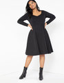 Sweetheart Fit and Flare Dress Black