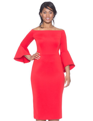 4ae4c5c53b85c Studio Off the Shoulder Flare Sleeve Dress ...