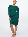 Crew Neck Dress with Draped Front Botanical Green