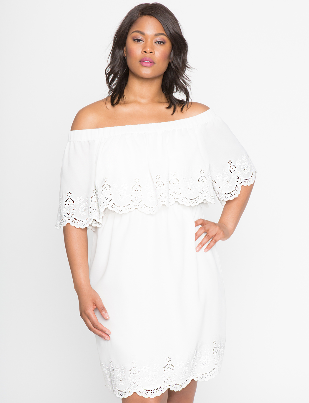 Studio Eyelet Off the Shoulder Dress | Women\'s Plus Size Dresses | ELOQUII
